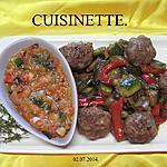 recette Boulettes de viande au trio de poivrons.