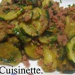 recette Sauté de rondelles de courgettes viandes hachée.