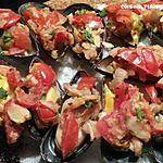 recette Moules farcies aux tomates, oignon et persil (mise en bouche)