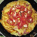 recette Tortilla jambon/pommes de terre et tomates/mozzarella