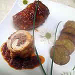recette Escalopes de jambon farcies. basilic. sauce tomates.