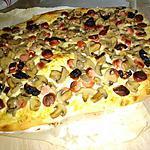 recette Pizza à la créme knackis champignons mozzarella