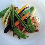recette Morue fraiche aux tomates et herbes de Provence sur purée de choufleur et légumes croquants