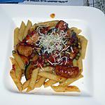 recette Pennes aux chipolatas de volaille et aux légumes verts