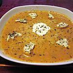 recette potage  tomates pommes de terre cerfeuil, kiri,croutons