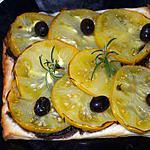 recette TARTE FINE A LA TOMATE ET AUX OLIVES NOIRES