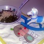 recette Purée bébé d'haricot vert champignons semoule jambon