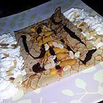 recette *Aprés-midi du dimanche* crépes sucré au pêches sauce chocolat chaud et chantilly