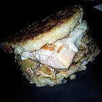 recette Burger au saumon-poireaux et mozzarella