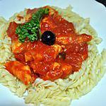 recette Pâte Sauce Tomate  &  son Poulet (facile)