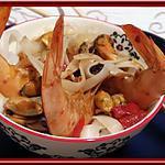 recette Nouilles de riz aux gambas et moules