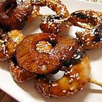 recette Crevettes au caramel d'ananas et graines de sésame grillées