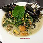 recette De retour de la mer..... Moules, coques, aux pâtes noires, cresson fontaine et salicorne