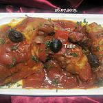 recette Lapin à la sauce tomates et aux olives noires.