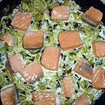 recette dés de saumon sur lit de poireau