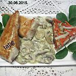 recette Éminces de dinde à la sauce béchamel et champignons.