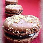 recette Macarons ganache au chocolat parfumé à la noix de coco