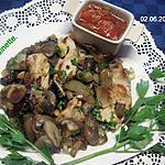 recette Émincé de poulet aux cocktail de champignons.