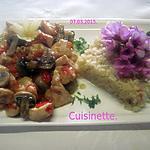 recette Cubes de poulet aux poivron.champignons.