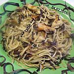 recette Pâte Chinoise aux champignons noirs et poulet.