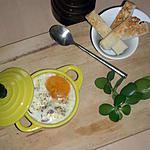 recette Oeuf cocotte à la Coppa et à la fondue d' Epinard