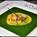 recette Velouté de potiron et velouté d'épinards au lait de coco