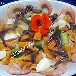 recette Pâtes Cavatappi al Salmone aux légumes et fricassée de mer.