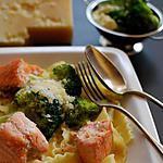 recette Lasagnettes au saumon en saucre crème et brocolis