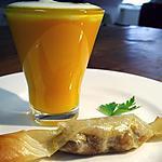 recette Crème de potimarron en capuccino et bonbon de foie gras...
