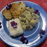 recette Champignons sauce blanche. steaks de porc.riz.