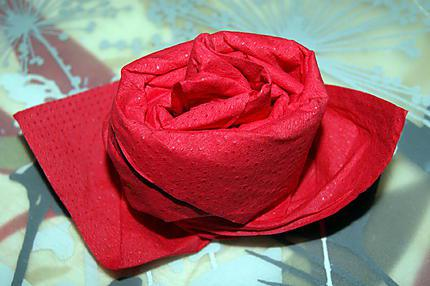 Recette de pliage de serviette rose for Pliage de serviette en forme de rose