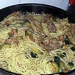recette Wok de nouille au legumes et porc