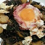 recette Oeuf sur poêlée de pommes de terre aux épices, épinards et champignons.