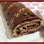recette Bûche croquante Chocolat Praliné Pistache