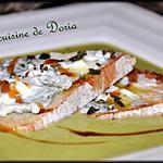recette Velouté froid de courgettes à l'ail et basilic, tartines de Gorgonzola