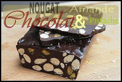 Nougat au chocolat, amandes et pistaches (2)
