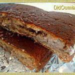 Gâteau fourré à la crème de banane et copeaux de chocolat