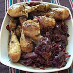 recette Cuisses de Poulet aux choux rouget et  à la Bière