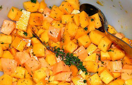 Recette d 39 ooo courge butternut et patate douce r ties au thym ooo - Recette patate douce blanche ...