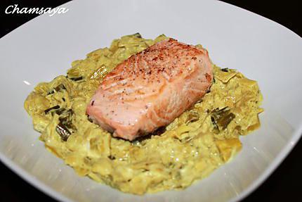 Recette de pav de saumon sur son lit de poireaux - Comment cuisiner un pave de saumon ...