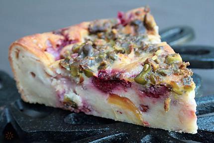 Pudding fruité estival aux fruits d'été , pêc-copie-2