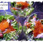 recette écrevisses aux oeufs de truite et sa verdure