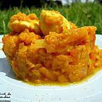 recette Sauté de dinde aux lentilles corail et à la carotte