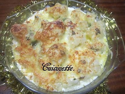 Recette de Chou-fleurs à la sauce blanche.gratiné.