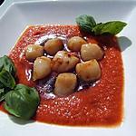 recette Soupe froide de tomate aux noix de pétoncles poêlées au sirop d'érable