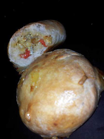 recette de bun zza au poulet curry et bleu