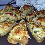 recette Cake individuel au blanc de poulet courgette champignons de Paris