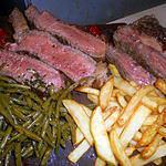 recette Cote de boeuf grillée haricots vert,frites