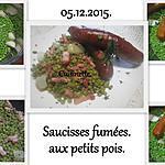 recette Saucisses fumées aux petite pois.