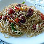 recette spaghettis  aux legumes croquant et au chorizo